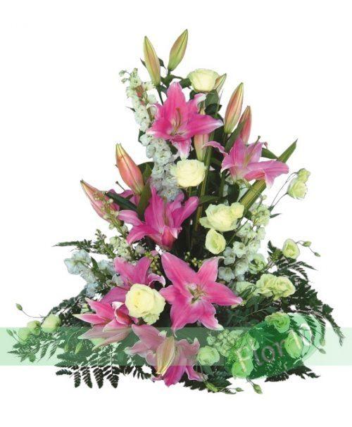 Centro de Flores Rosas y Blancas
