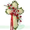 Cruz Funeraria Blanca y Roja