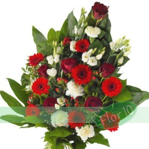 ramo funerario blanco y rojo